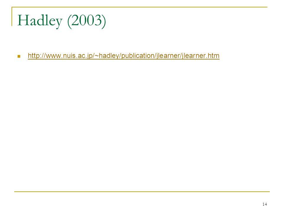 14 Hadley (2003) http://www.nuis.ac.jp/~hadley/publication/jlearner/jlearner.htm