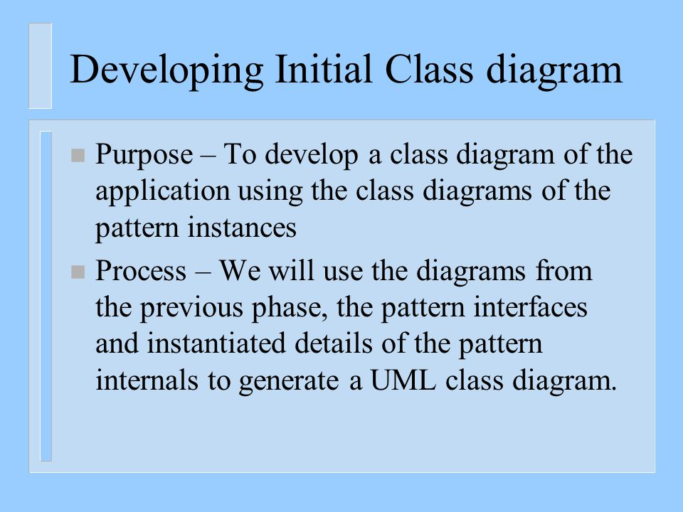 Developing Initial Class diagram n Purpose – To develop a class diagram of the application using the class diagrams of the pattern instances n Process