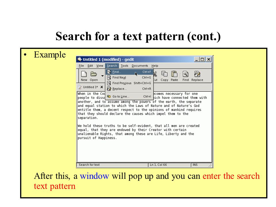 Search for a text pattern (cont.) Example After this, a window will pop up and you can enter the search text pattern