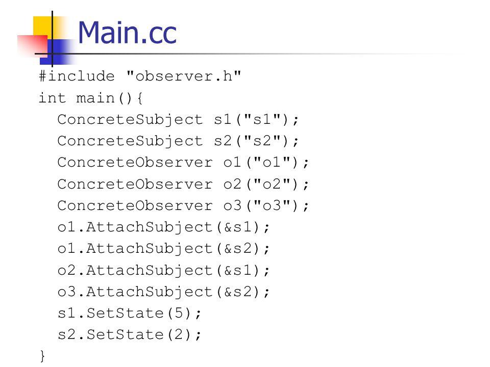 Main.cc #include observer.h int main(){ ConcreteSubject s1( s1 ); ConcreteSubject s2( s2 ); ConcreteObserver o1( o1 ); ConcreteObserver o2( o2 ); ConcreteObserver o3( o3 ); o1.AttachSubject(&s1); o1.AttachSubject(&s2); o2.AttachSubject(&s1); o3.AttachSubject(&s2); s1.SetState(5); s2.SetState(2); }