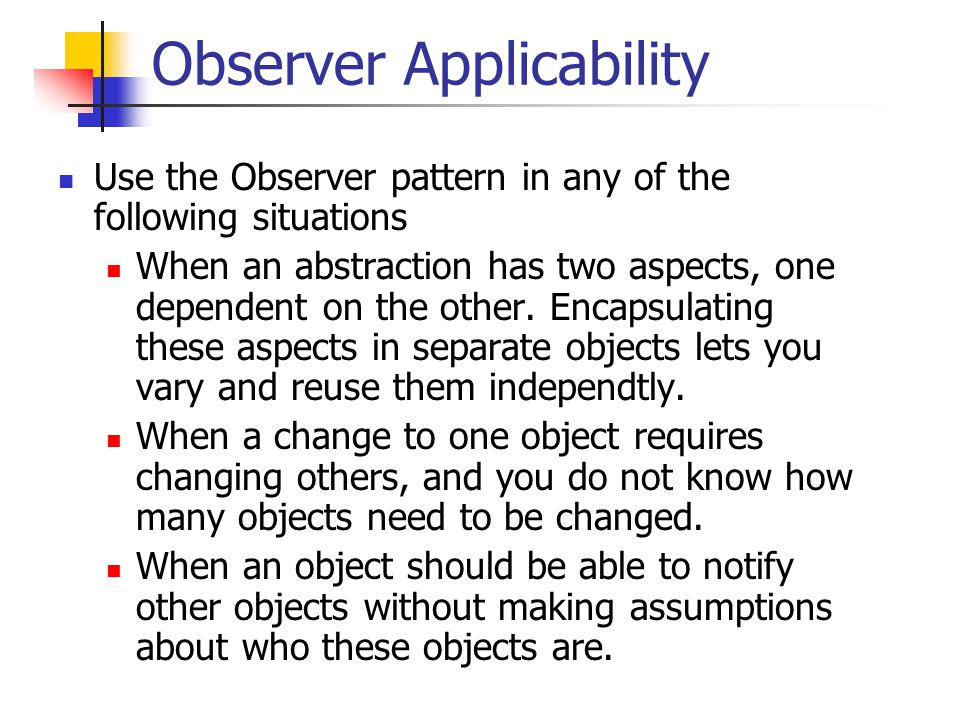 Observer.cc #include observer.h Observer::Observer() {}; void Subject::attach(Observer* obs) { observers_.push_back(obs); }; void Subject::detach(Observer* obs) { observers_.erase(find(observers_.begin( ), observers_.end(),obs)); };