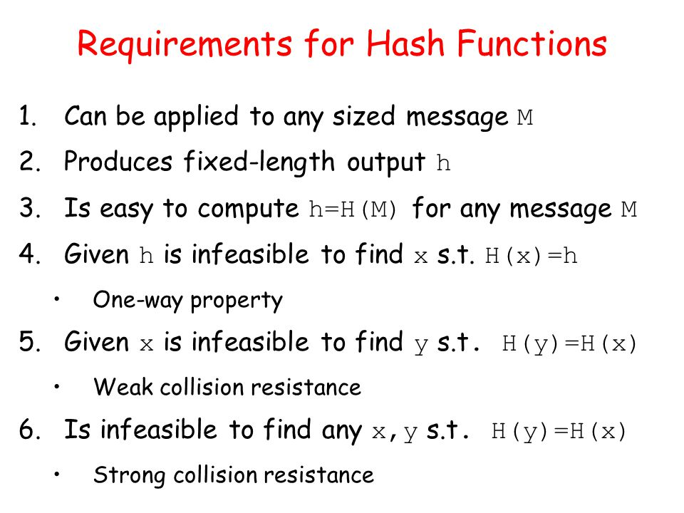 Requirements for Hash Functions 1.Can be applied to any sized message M 2.Produces fixed-length output h 3.Is easy to compute h=H(M) for any message M 4.Given h is infeasible to find x s.t.