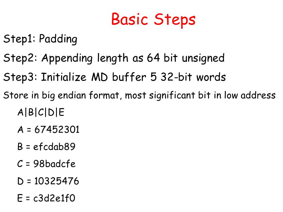 Basic Steps Step1: Padding Step2: Appending length as 64 bit unsigned Step3: Initialize MD buffer 5 32-bit words Store in big endian format, most significant bit in low address A|B|C|D|E A = 67452301 B = efcdab89 C = 98badcfe D = 10325476 E = c3d2e1f0