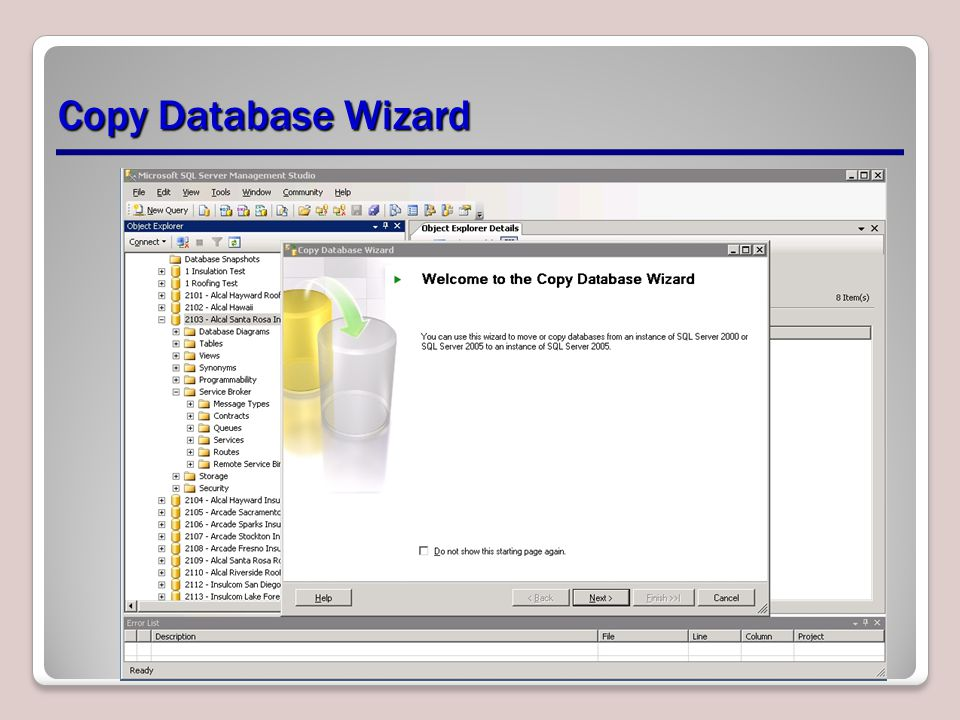 Copy Database Wizard