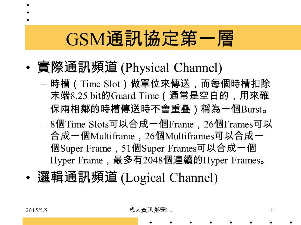 2015/5/5 成大資訊 鄭憲宗 11 GSM 通訊協定第一層 實際通訊頻道 (Physical Channel) – 時槽( Time Slot )做單位來傳送,而每個時槽扣除 末端 8.25 bit 的 Guard Time (通常是空白的,用來確 保兩相鄰的時槽傳送時不會重疊)稱為一個 Bu