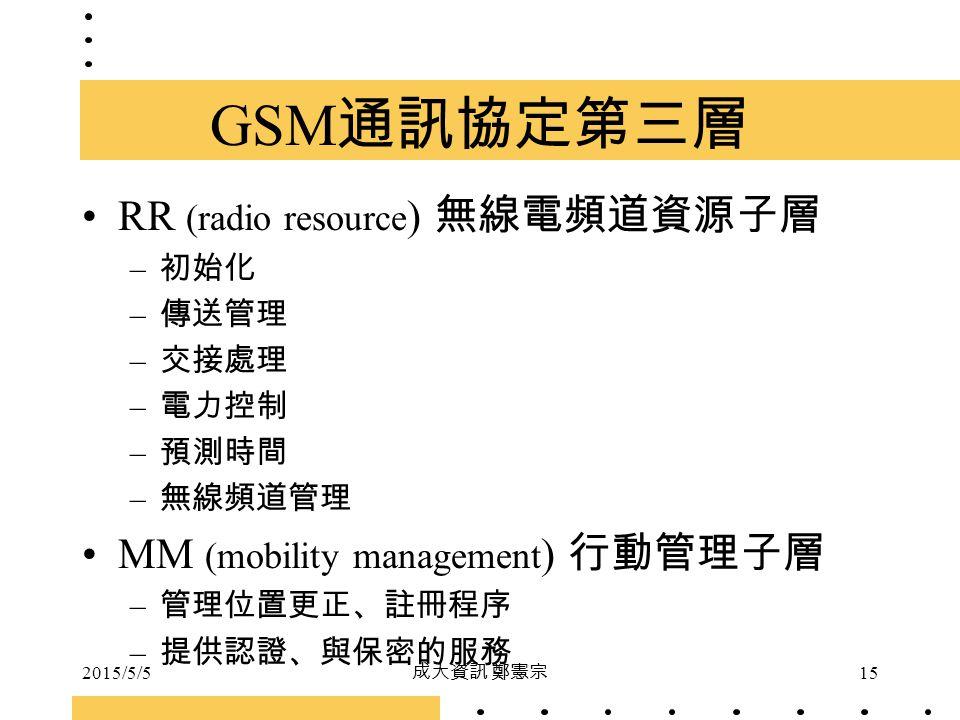 2015/5/5 成大資訊 鄭憲宗 15 GSM 通訊協定第三層 RR (radio resource ) 無線電頻道資源子層 – 初始化 – 傳送管理 – 交接處理 – 電力控制 – 預測時間 – 無線頻道管理 MM (mobility management ) 行動管理子層 – 管理位置更正、註