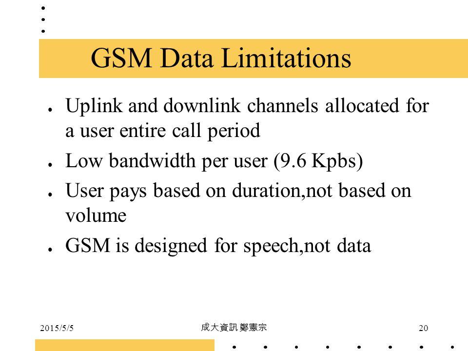 2015/5/5 成大資訊 鄭憲宗 20 Uplink and downlink channels allocated for a user entire call period Low bandwidth per user (9.6 Kpbs) User pays based on duratio