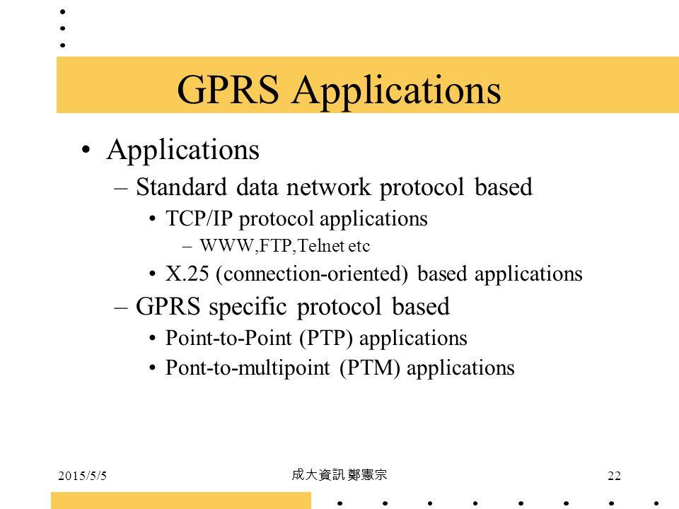 2015/5/5 成大資訊 鄭憲宗 22 GPRS Applications Applications –Standard data network protocol based TCP/IP protocol applications –WWW,FTP,Telnet etc X.25 (conne