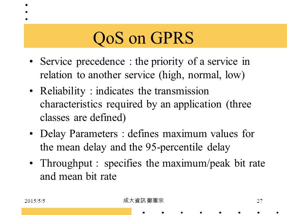 2015/5/5 成大資訊 鄭憲宗 27 Service precedence : the priority of a service in relation to another service (high, normal, low) Reliability : indicates the tra
