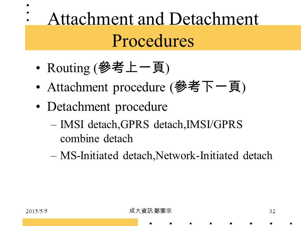 2015/5/5 成大資訊 鄭憲宗 32 Attachment and Detachment Procedures Routing ( 參考上一頁 ) Attachment procedure ( 參考下一頁 ) Detachment procedure –IMSI detach,GPRS deta