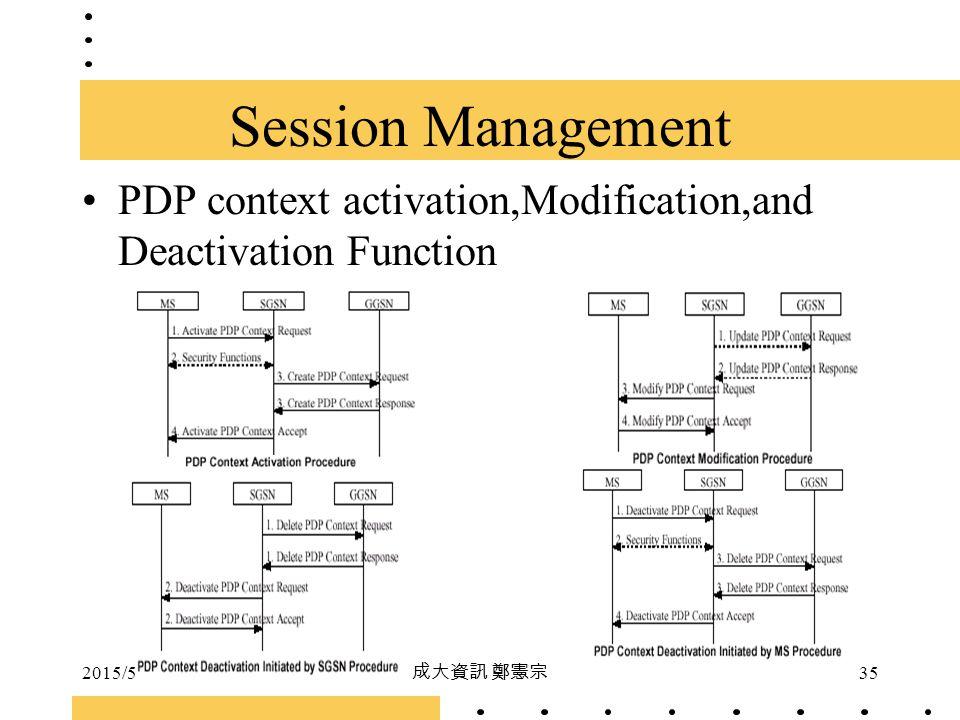 2015/5/5 成大資訊 鄭憲宗 35 PDP context activation,Modification,and Deactivation Function Session Management