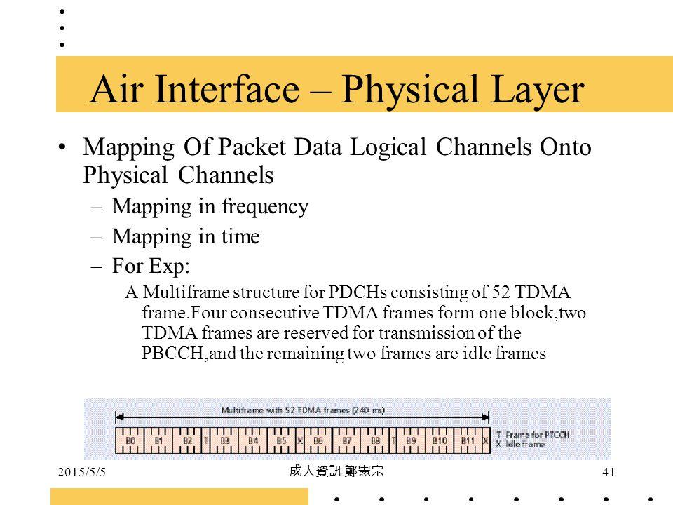 2015/5/5 成大資訊 鄭憲宗 41 Mapping Of Packet Data Logical Channels Onto Physical Channels –Mapping in frequency –Mapping in time –For Exp: A Multiframe stru