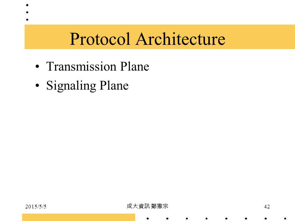 2015/5/5 成大資訊 鄭憲宗 42 Protocol Architecture Transmission Plane Signaling Plane