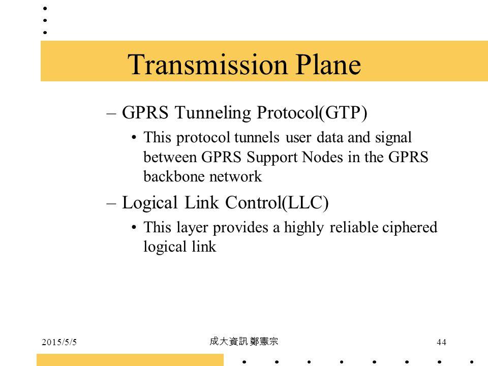 2015/5/5 成大資訊 鄭憲宗 44 –GPRS Tunneling Protocol(GTP) This protocol tunnels user data and signal between GPRS Support Nodes in the GPRS backbone network