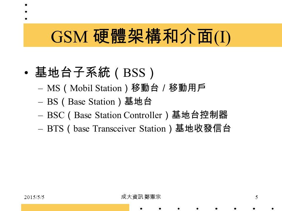 2015/5/5 成大資訊 鄭憲宗 5 GSM 硬體架構和介面 (I) 基地台子系統( BSS ) –MS ( Mobil Station )移動台/移動用戶 –BS ( Base Station )基地台 –BSC ( Base Station Controller )基地台控制器 –BTS (