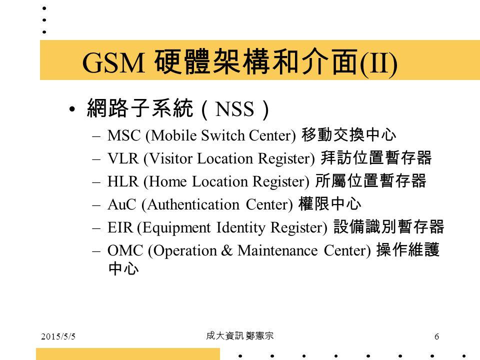 2015/5/5 成大資訊 鄭憲宗 6 GSM 硬體架構和介面 (II) 網路子系統( NSS ) –MSC (Mobile Switch Center) 移動交換中心 –VLR (Visitor Location Register) 拜訪位置暫存器 –HLR (Home Location Regi