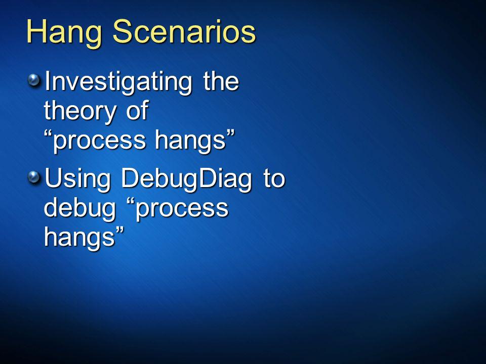 """Hang Scenarios Investigating the theory of """"process hangs"""" Using DebugDiag to debug """"process hangs"""""""