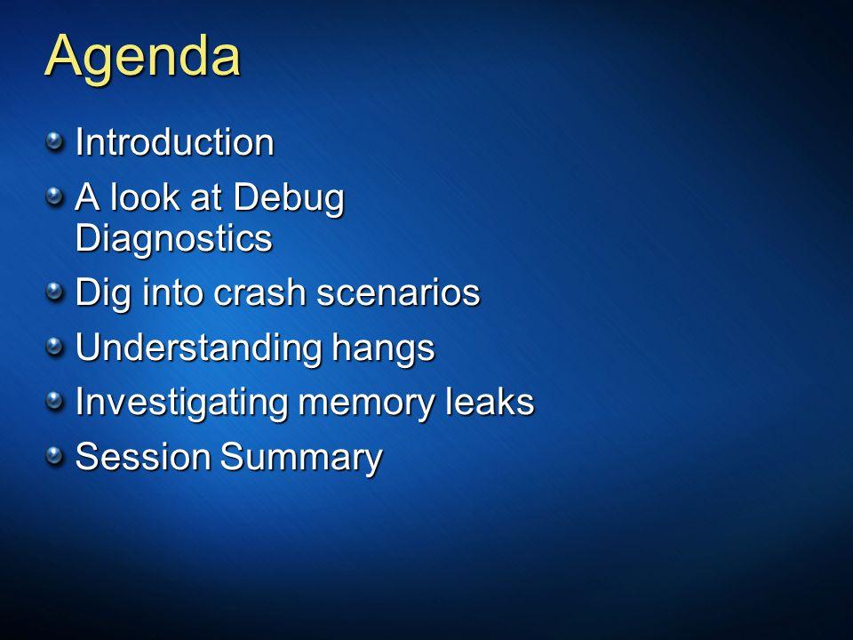 Agenda Introduction A look at Debug Diagnostics Dig into crash scenarios Understanding hangs Investigating memory leaks Session Summary
