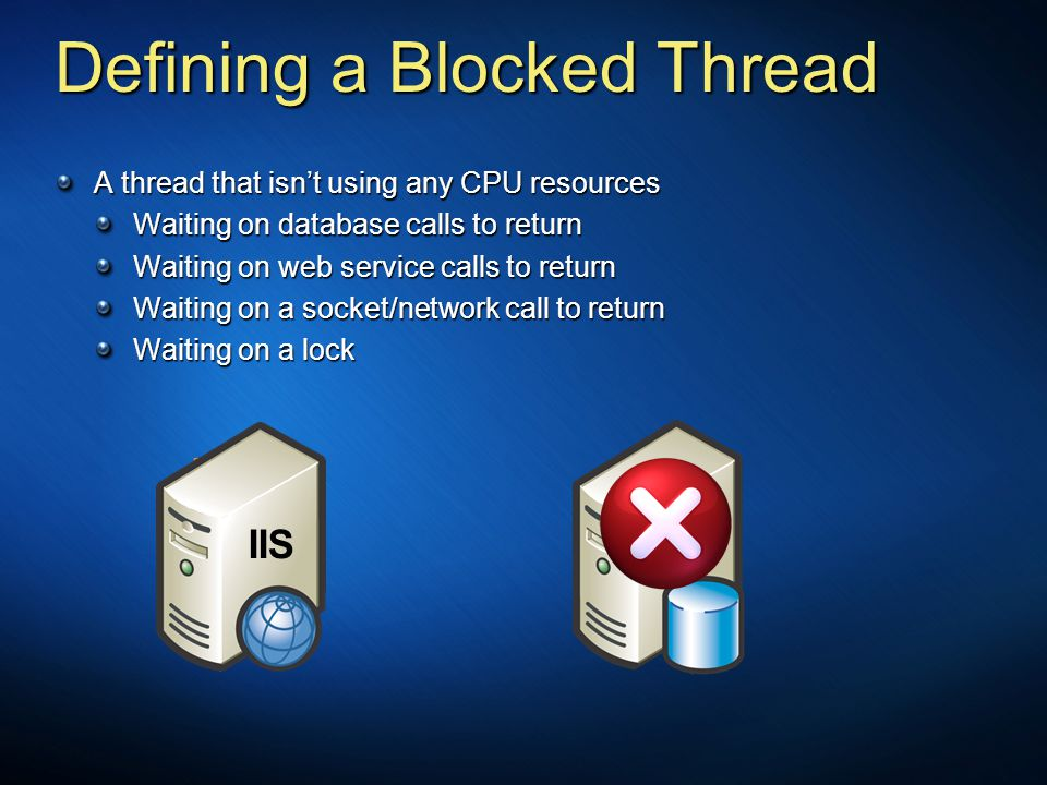 SQL Thread4 Thread3 Thread1 Defining a Blocked Thread A thread that isn't using any CPU resources Waiting on database calls to return Waiting on web s