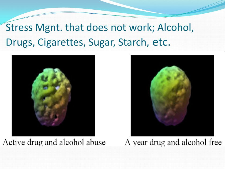 Stress Mgnt. that does not work; Alcohol, Drugs, Cigarettes, Sugar, Starch, etc.