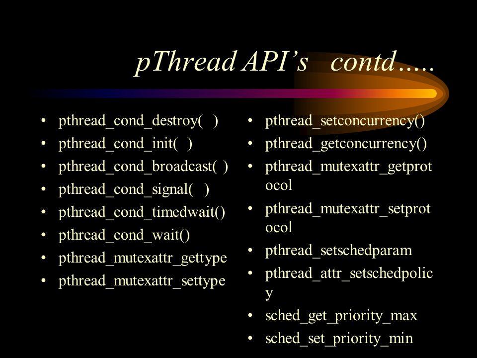 pThread API's contd…..