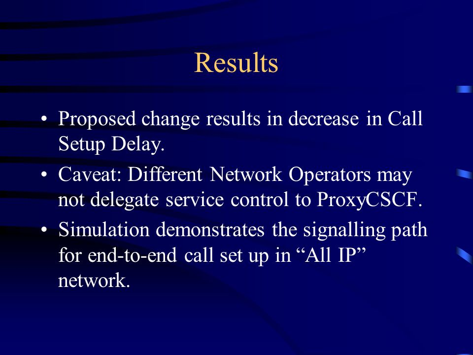 Results Proposed change results in decrease in Call Setup Delay.