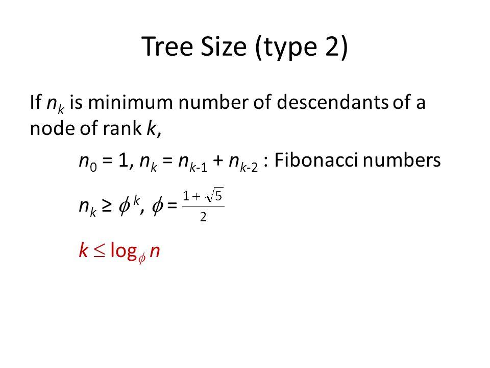 Tree Size (type 2) If n k is minimum number of descendants of a node of rank k, n 0 = 1, n k = n k-1 + n k-2 : Fibonacci numbers n k ≥  k,  = k  log  n