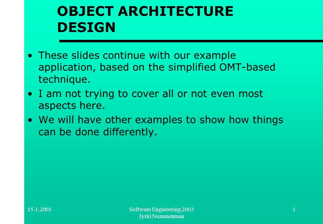 15.1.2003Software Engineering 2003 Jyrki Nummenmaa 12 Subject {abstract} Subject {abstract} Object {abstract} Object {abstract} update() {abstract} GameModel GameGUI update() observes * registers for all g in observes { g.update() } attach(x:Observer) detach(x: Observer) notify() Applying The Observer Design Pattern Controller?