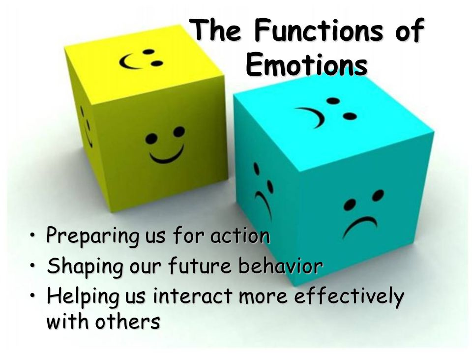 The Functions of Emotions Preparing us for actionPreparing us for action Shaping our future behaviorShaping our future behavior Helping us interact more effectively with othersHelping us interact more effectively with others