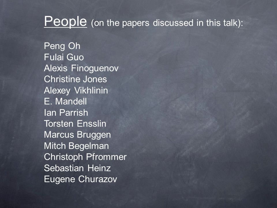 People (on the papers discussed in this talk): Peng Oh Fulai Guo Alexis Finoguenov Christine Jones Alexey Vikhlinin E.