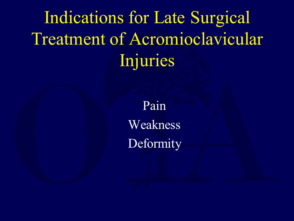Indications for Late Surgical Treatment of Acromioclavicular Injuries Pain Weakness Deformity