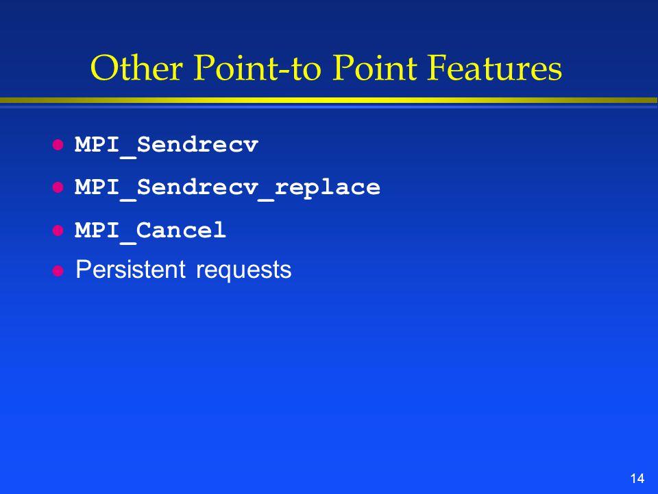 14 Other Point-to Point Features l MPI_Sendrecv l MPI_Sendrecv_replace l MPI_Cancel l Persistent requests