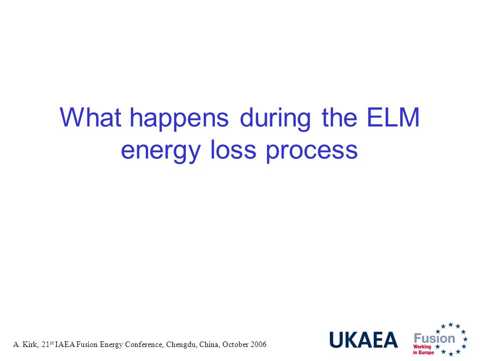 A. Kirk, 21 st IAEA Fusion Energy Conference, Chengdu, China, October 2006 What happens during the ELM energy loss process