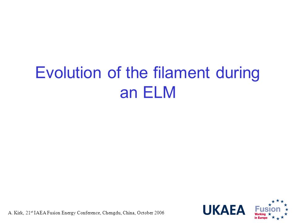 A. Kirk, 21 st IAEA Fusion Energy Conference, Chengdu, China, October 2006 Evolution of the filament during an ELM