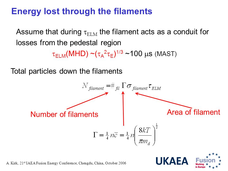 A. Kirk, 21 st IAEA Fusion Energy Conference, Chengdu, China, October 2006 Energy lost through the filaments Total particles down the filaments Assume