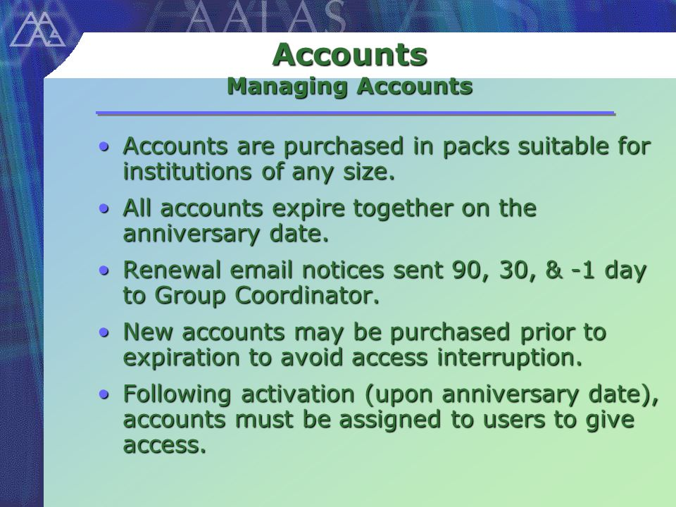 Accounts Managing Accounts Accounts are purchased in packs suitable for institutions of any size.Accounts are purchased in packs suitable for institutions of any size.