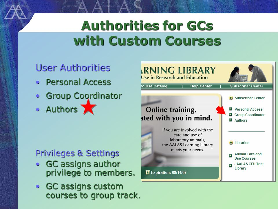Authorities for GCs with Custom Courses User Authorities Personal AccessPersonal Access Group CoordinatorGroup Coordinator AuthorsAuthors Privileges & Settings GC assigns author privilege to members.GC assigns author privilege to members.