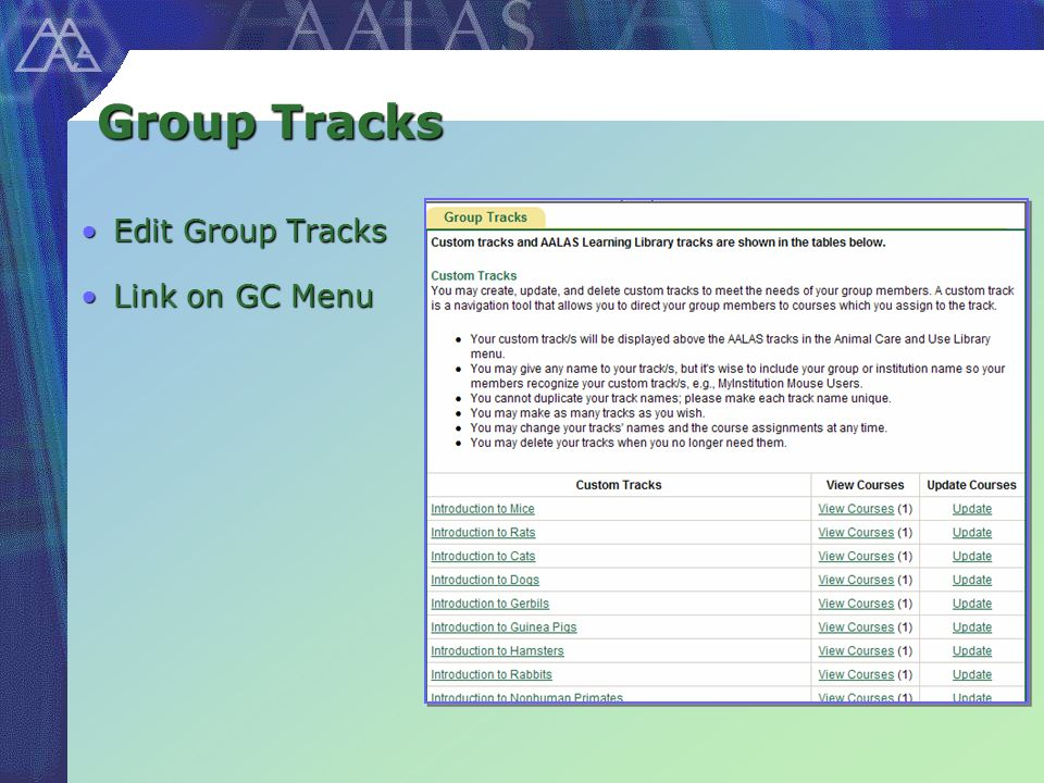 Group Tracks Edit Group TracksEdit Group Tracks Link on GC MenuLink on GC Menu