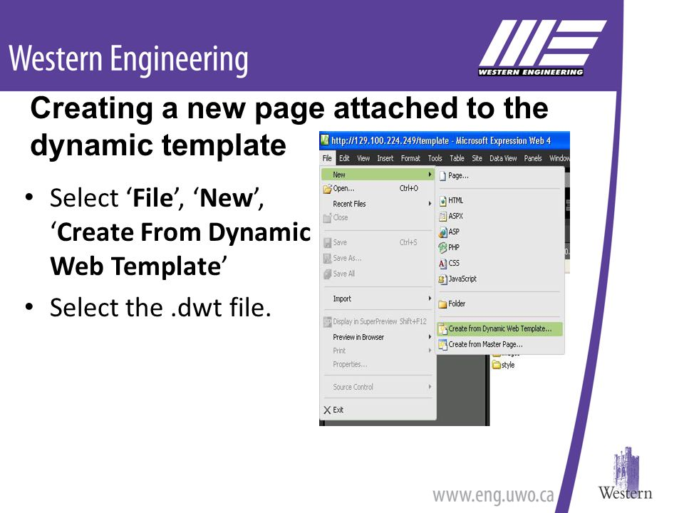 Select 'File', 'New', 'Create From Dynamic Web Template' Select the.dwt file.