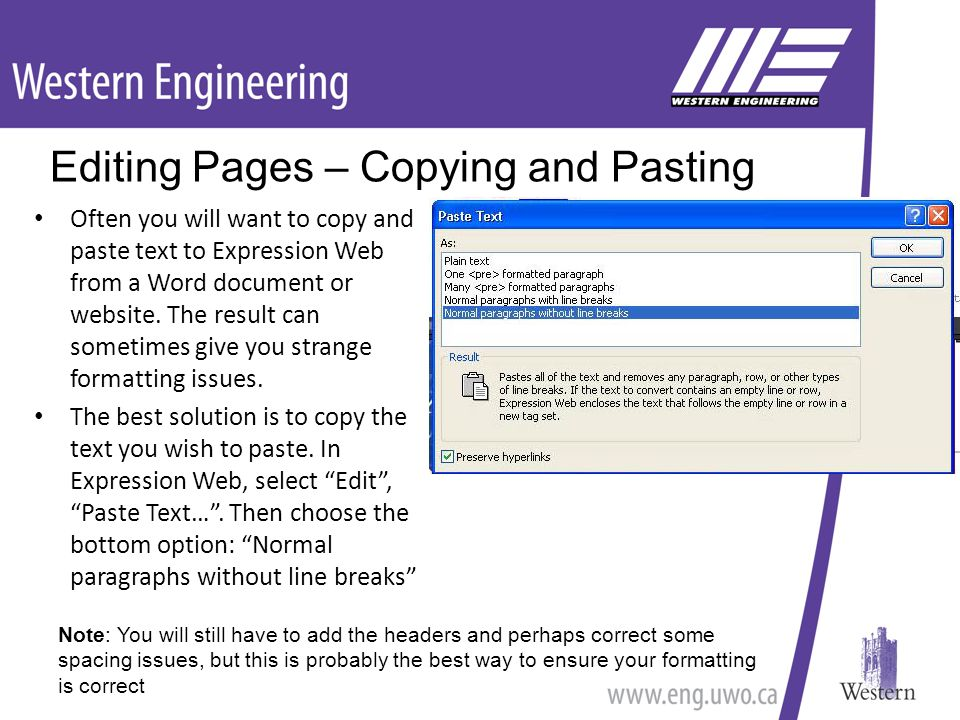 Often you will want to copy and paste text to Expression Web from a Word document or website.
