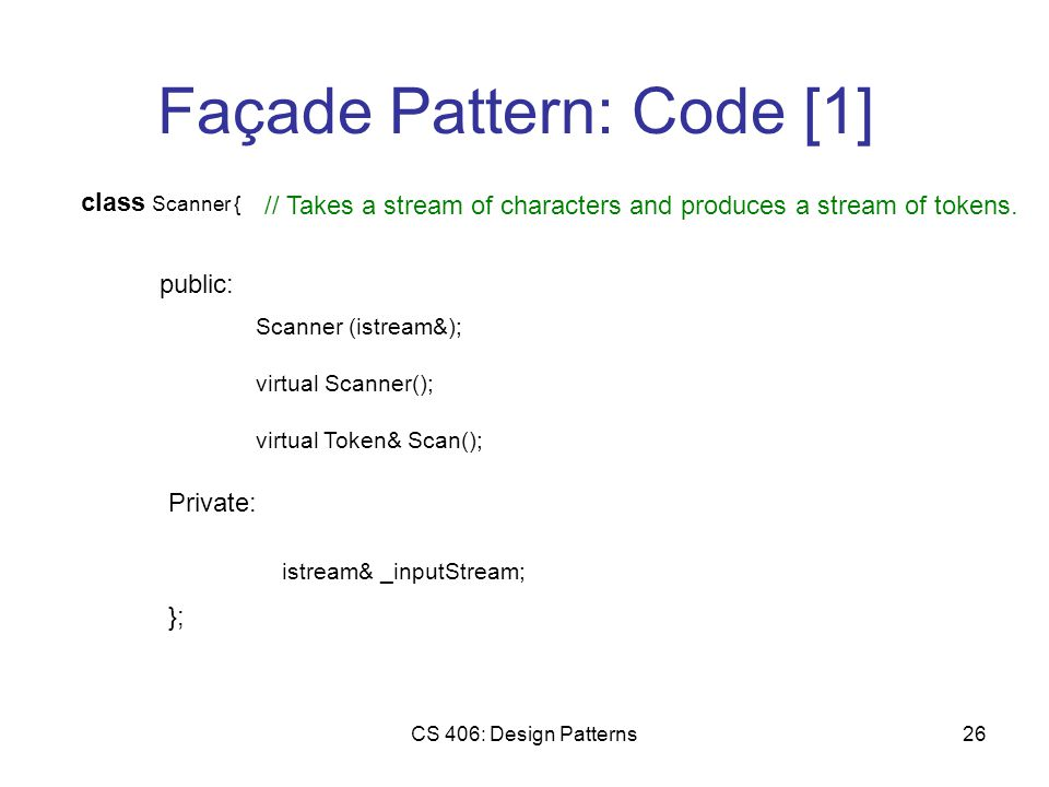 CS 406: Design Patterns26 Façade Pattern: Code [1] class Scanner { public: Scanner (istream&); Private: virtual Scanner(); istream& _inputStream; }; virtual Token& Scan(); // Takes a stream of characters and produces a stream of tokens.