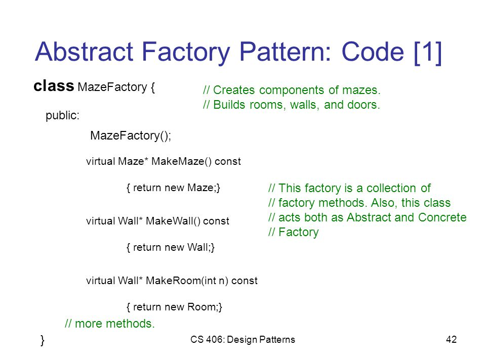 CS 406: Design Patterns42 Abstract Factory Pattern: Code [1] class MazeFactory { public: MazeFactory(); virtual Maze* MakeMaze() const { return new Maze;} // Creates components of mazes.