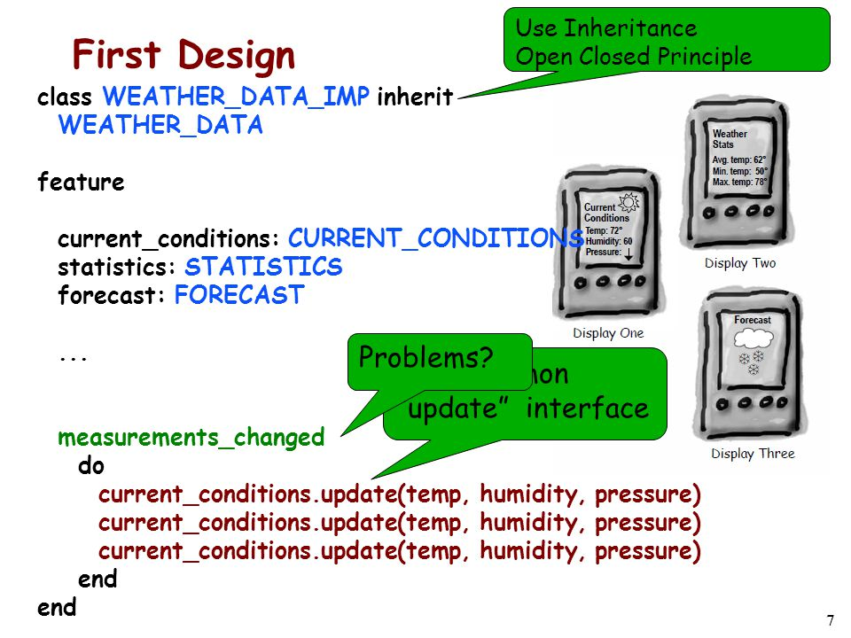 7 First Design class WEATHER_DATA_IMP inherit WEATHER_DATA feature current_conditions: CURRENT_CONDITIONS statistics: STATISTICS forecast: FORECAST...