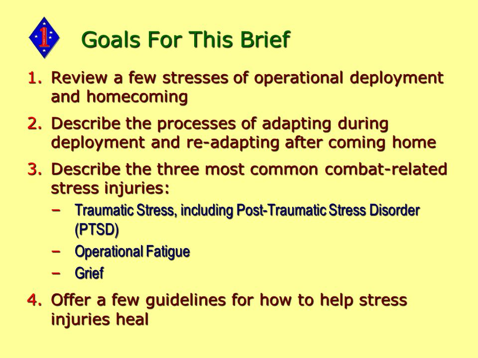 Goals For This Brief 1.Review a few stresses of operational deployment and homecoming 2.Describe the processes of adapting during deployment and re-adapting after coming home 3.Describe the three most common combat-related stress injuries: – Traumatic Stress, including Post-Traumatic Stress Disorder (PTSD) – Operational Fatigue – Grief 4.Offer a few guidelines for how to help stress injuries heal