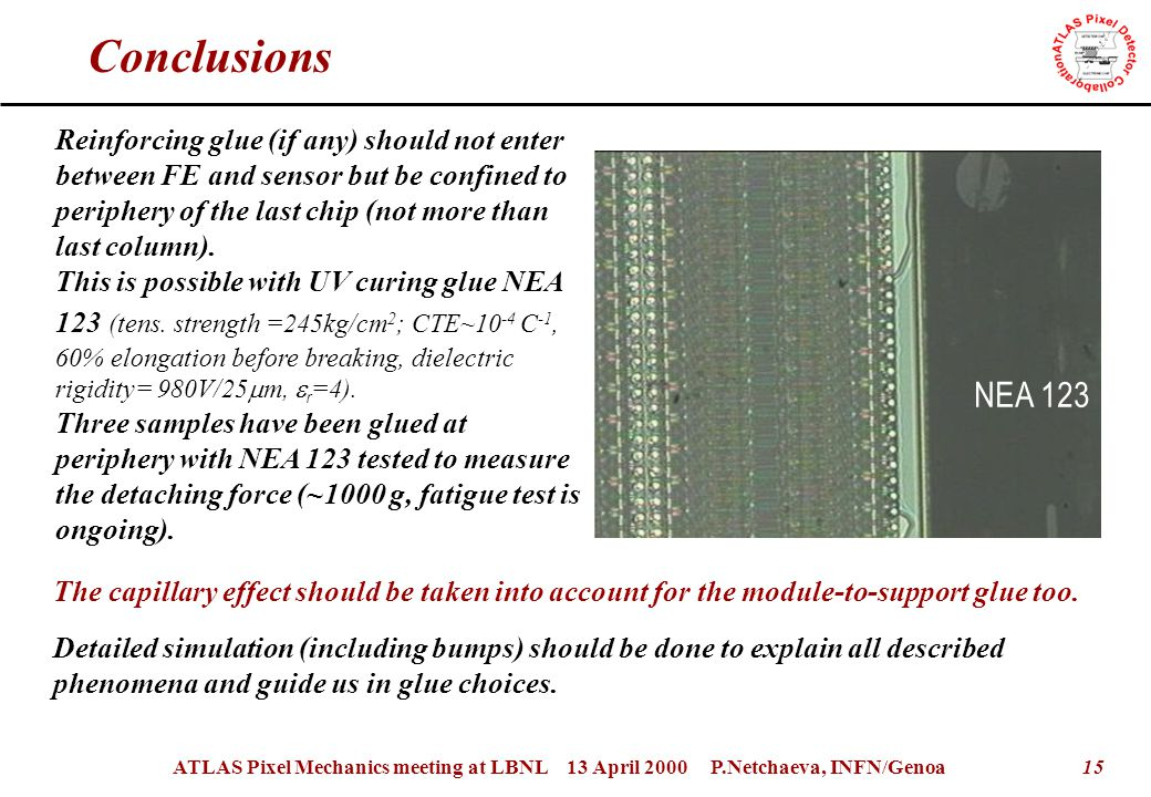 15ATLAS Pixel Mechanics meeting at LBNL 13 April 2000 P.Netchaeva, INFN/Genoa Conclusions Reinforcing glue (if any) should not enter between FE and sensor but be confined to periphery of the last chip (not more than last column).