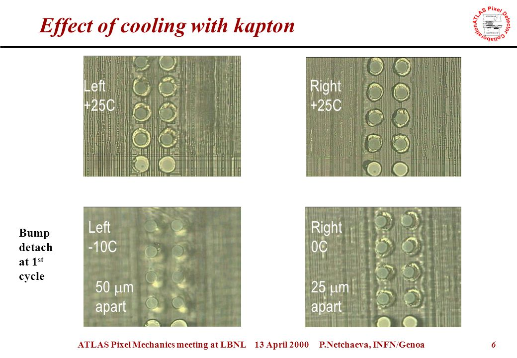 6ATLAS Pixel Mechanics meeting at LBNL 13 April 2000 P.Netchaeva, INFN/Genoa Effect of cooling with kapton Left +25C Right 0C Right +25C Left -10C Bump detach at 1 st cycle 50  m apart 25  m apart