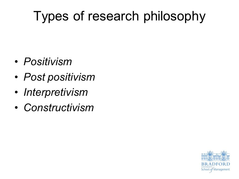 Types of research philosophy Positivism Post positivism Interpretivism Constructivism