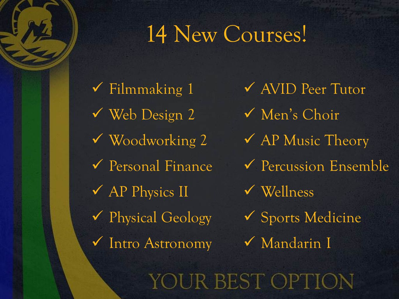 14 New Courses.