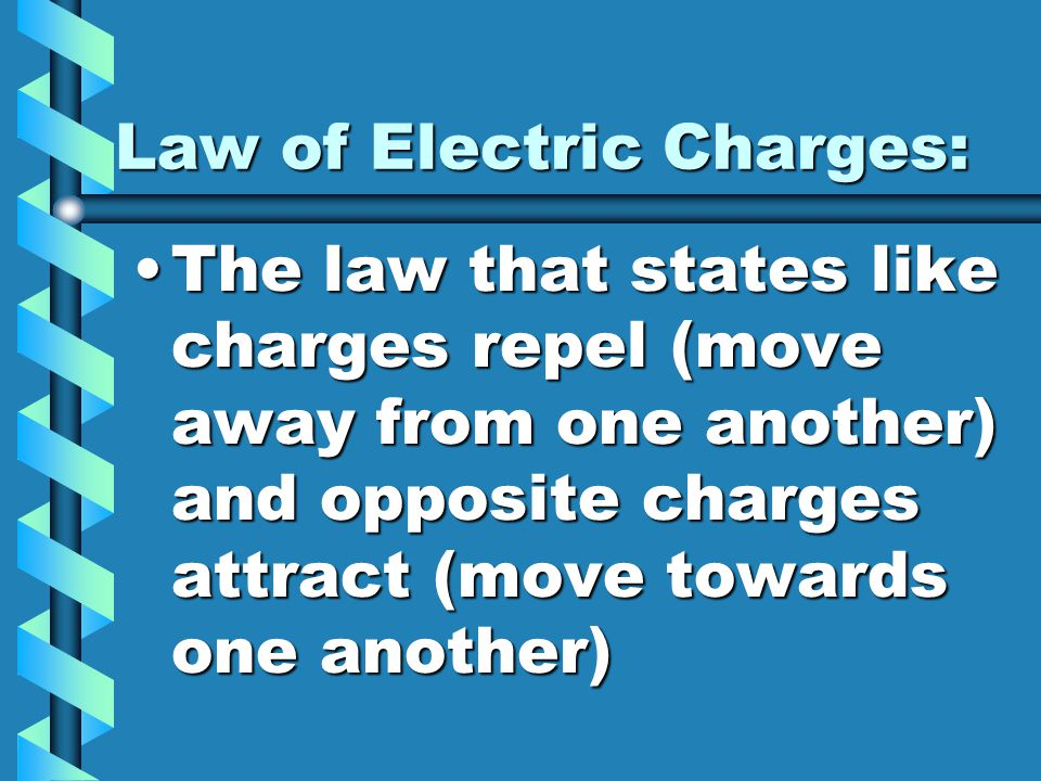 Law of Electric Charges: The law that states like charges repel (move away from one another) and opposite charges attract (move towards one another)Th