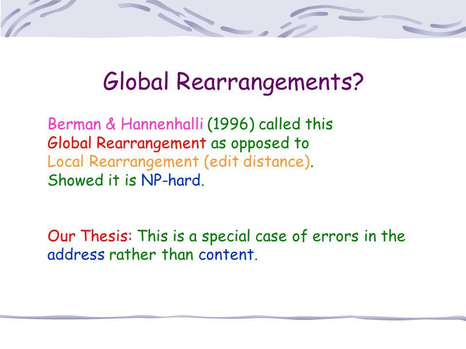 Global Rearrangements? Berman & Hannenhalli (1996) called this Global Rearrangement as opposed to Local Rearrangement (edit distance). Showed it is NP